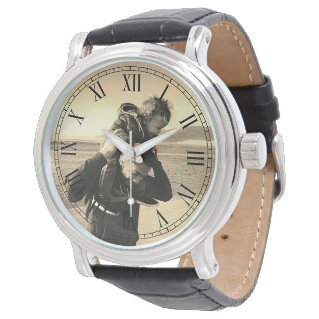 Sepia Style Custom Photo Watch