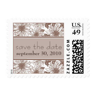 Sepia Sunflower Save the Date Wedding Stamp