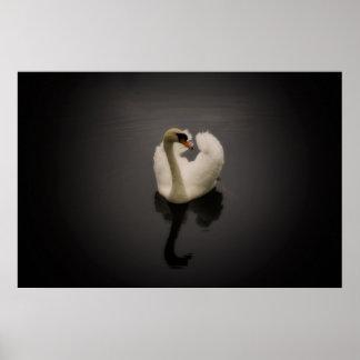 Sepia Swan framed print