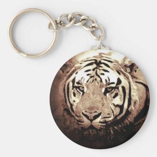 Sepia Tiger Basic Round Button Keychain