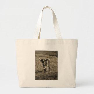 Sepia Tone Brown and White Longhorn Bull Canvas Bag
