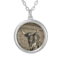 Sepia Tone Brown and White Longhorn Bull Silver Plated Necklace