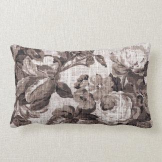 Sepia Tone Brown Floral Toile Fabric No.5 Lumbar Pillow