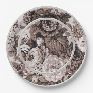 Sepia Tone Brown Floral Toile No.1 Paper Plate