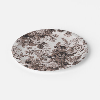 Sepia Tone Brown Floral Toile No.3 Paper Plate