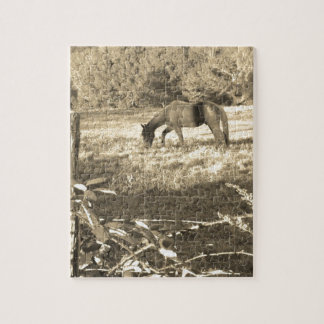 Sepia tone Brown horse and fence Puzzle