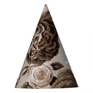 Sepia Tone Brown Vintage Floral Toile No.1 Party Hat