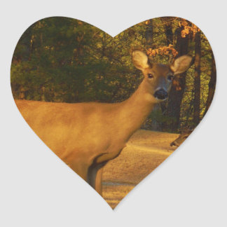 Sepia Tone Colored Does Heart Sticker
