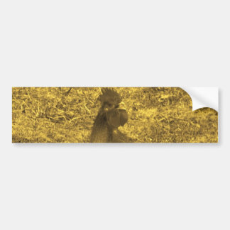 Sepia Tone Crowing Rooster Car Bumper Sticker