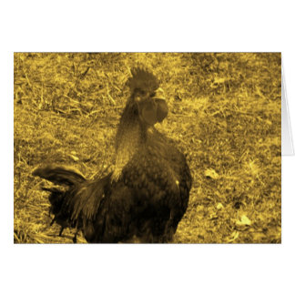 Sepia Tone Crowing Rooster Card