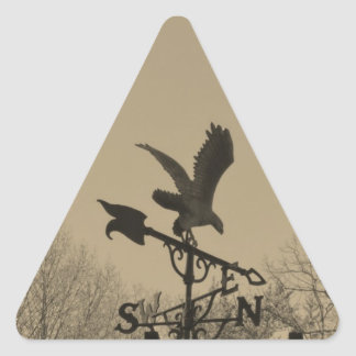 Sepia Tone Eagle Weather vane Triangle Sticker
