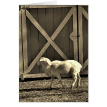 Sepia Tone  Goat and Barn Doors Card