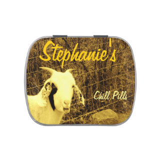 Sepia Tone Goat chill pills: add Name Candy Tin
