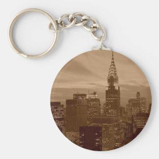 Sepia Tone New York City Keychain