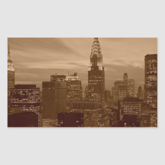 Sepia Tone New York City Rectangular Sticker
