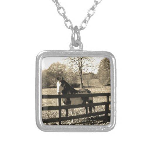 Sepia Tone  Photo of  black and white Horse Pendant