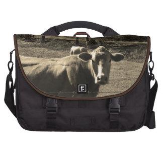 Sepia Tone  Photo of  Brown Cow Laptop Messenger Bag