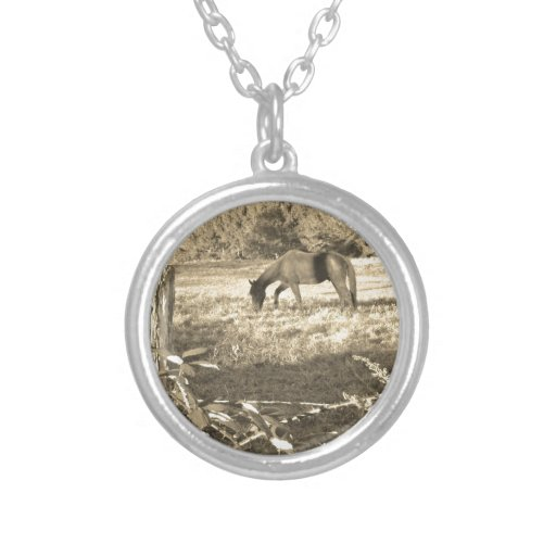 Sepia Tone  Photo of  brown Horse Necklaces