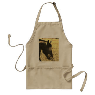 Sepia Tone  Photo of  brown Horse with flowers Adult Apron