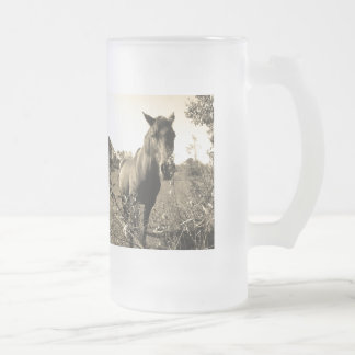 Sepia Tone  Photo of  brown Horse with flowers Frosted Glass Beer Mug
