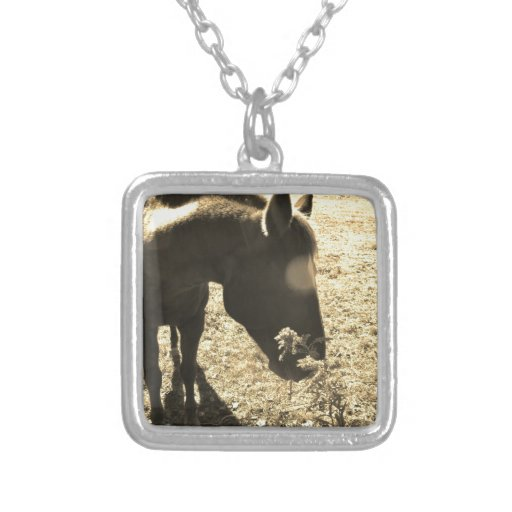 Sepia Tone  Photo of  brown Horse with flowers Custom Necklace