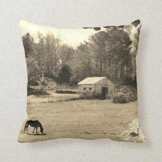 Sepia Tone  Photo of  brown Horse with flowers Pillow