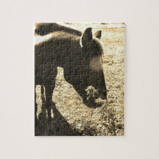 Sepia Tone Photo of brown Horse with flowers Jigsaw Puzzles