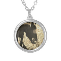 Sepia Tone  Photo of  brown Horse with flowers Silver Plated Necklace