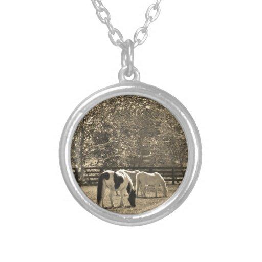 Sepia Tone  Photo of Horse Custom Necklace
