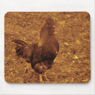 Sepia Tone Rooster facing right Mouse Pad