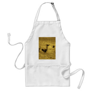 Sepia Tone Rooster in the Yard Adult Apron