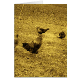 Sepia Tone Rooster in the Yard Card