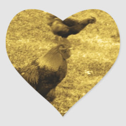 Sepia Tone Rooster in the Yard Heart Sticker