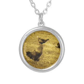 Sepia Tone Rooster in the Yard Pendants