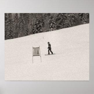 Sepia tone ski print, Cross country skier Poster