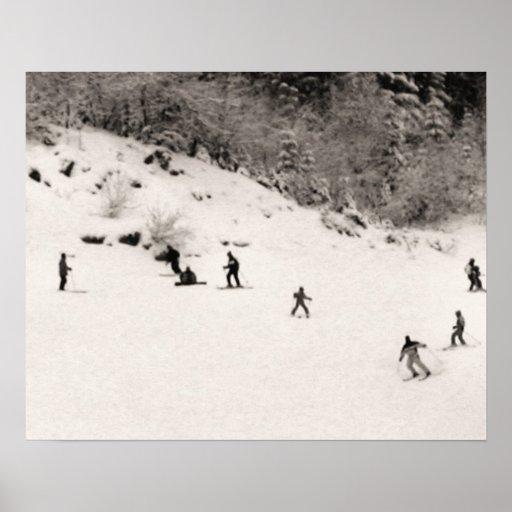 Sepia tone ski print, Fun on the piste