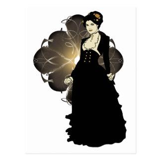Sepia Tone Victorian Lady Postcard