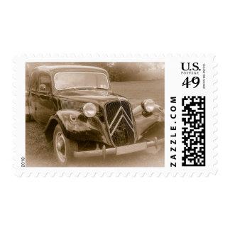 Sepia Tone Vintage Car Photo Stamp