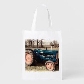 Sepia Toned Antique Vintage Tractor Grocery Bag