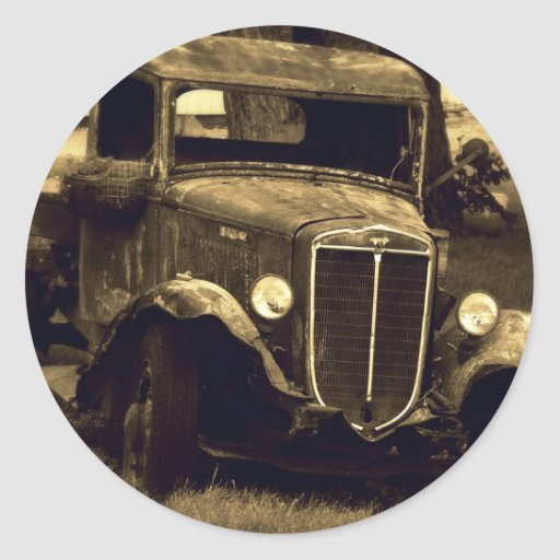 Sepia Toned Antique Vintage Truck Round Stickers