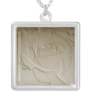 Sepia toned Emboss Look Rose Square Pendant Necklace