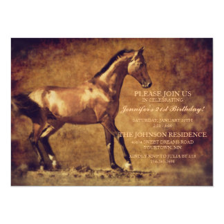"Sepia Toned Rustic Horse Art 5.5"" X 7.5"" Invitation Card"