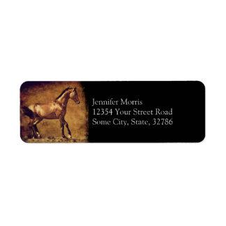 Sepia Toned Rustic Horse Art Label