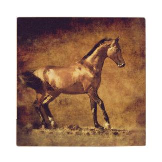 Sepia Toned Rustic Horse Art Wooden Coaster