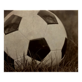 Sepia Toned Soccer Ball Poster