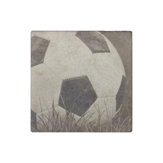 Sepia Toned Soccer Ball Stone Magnet