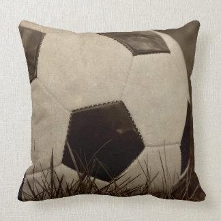 Sepia Toned Soccer Ball Throw Pillow