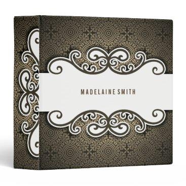 Professional Business Sepia Tones Ornate Elegance with Swirls Binder