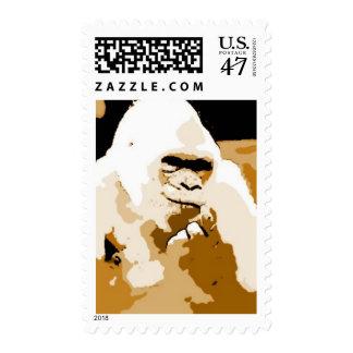 Sepia Tones Pop Art Gorilla Postage