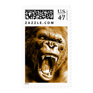 Sepia Tones Screaming Gorilla Postage